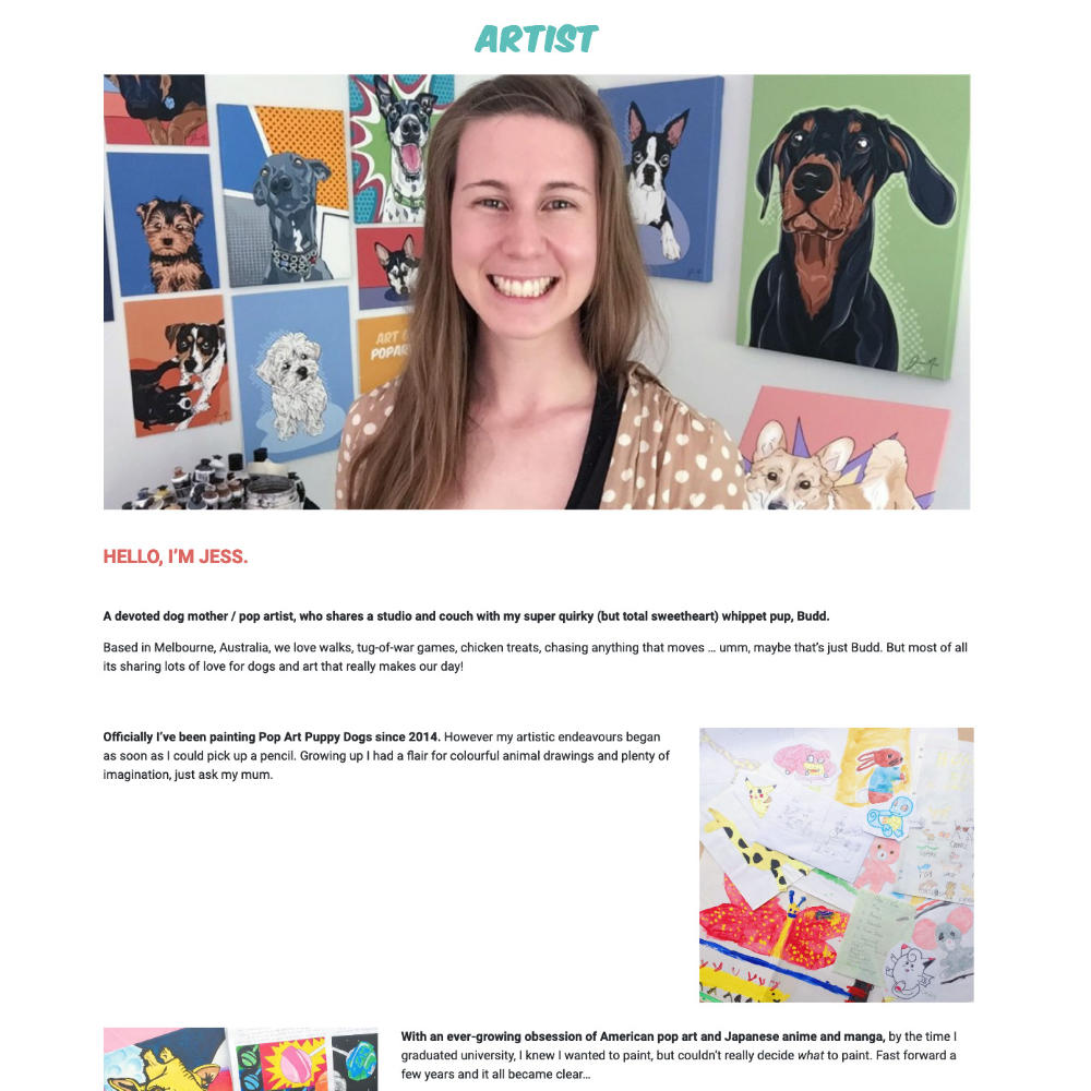 Screen capture of the Artist page in Pop Art Puppy Dogs.